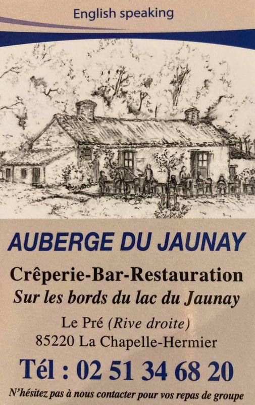 carte de visite de l'auberge du jaunay bar creperie restauration
